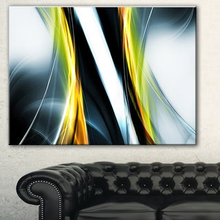 Designart 'Fractal Lines Yellow White' Abstract Digital Art Canvas Print
