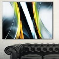 Designart 'Fractal Lines Yellow White' Abstract Digital Art Canvas Print