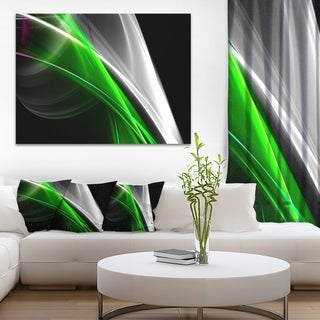 Designart 'Fractal Lines Green White' Abstract Digital Art Canvas Print
