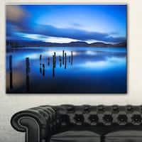 Designart 'Blue Lake Sunset with Pier' Landscape Photo Canvas Print - Blue