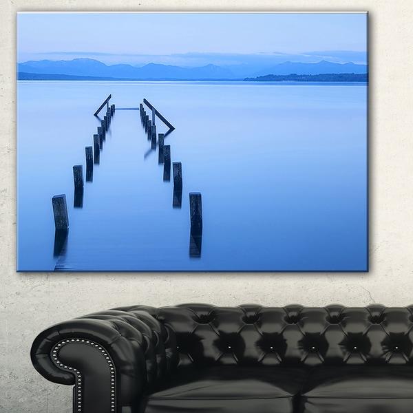 Designart 'Wood Walk' Seascape Photography Canvas Art Print