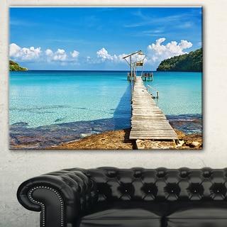 Designart 'Old Wooden Pier in Sea' Seascape Photo Canvas Print