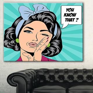 Designart 'Woman in Comic Style' Portrait Digital Art Canvas Print