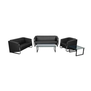 Offex Hercules Gallant Series Contemporary Leather Soft Upholstery Reception Set in Black