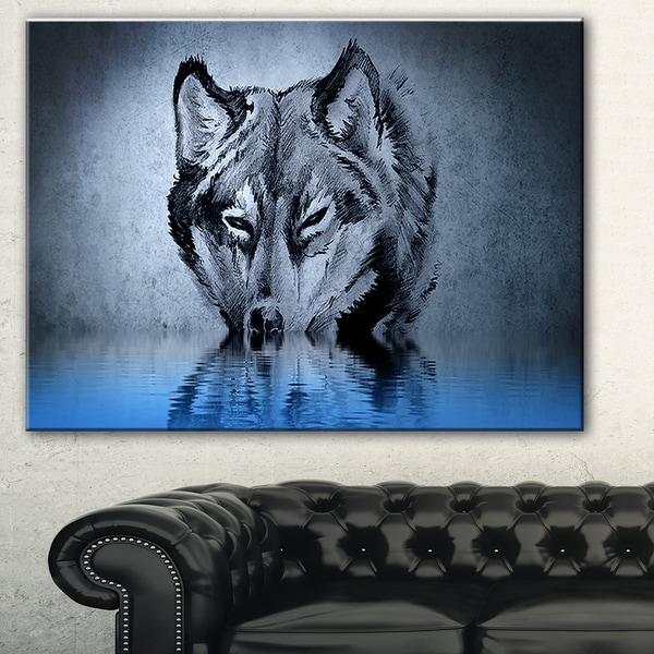 Shop Designart Wolf Head With Water Reflections Tattoo
