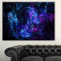 Designart 'Blue Chaotic Strokes' Abstract Digital Art Canvas Print