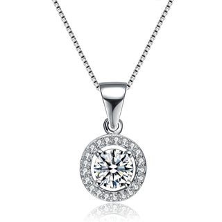 Collette Z Sterling Silver Round Cut Cubic Zirconia Pendant Necklace (3 options available)