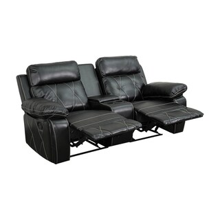 Offex Real Comfort Series 2-seat Reclining Leather Theater Seating Unit with Straight Cup Holders