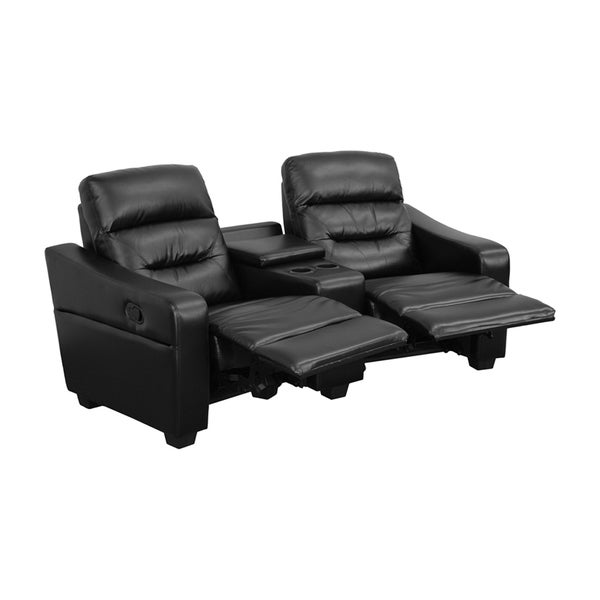 Offex Futura Series 2 Seat Reclining Leather Theater Seating Unit With Cup  Holders