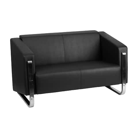 Offex Hercules Gallant Series Contemporary Black Leather Upholstery Loveseat with Stainless Steel Frame