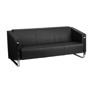 Offex Hercules Gallant Series Contemporary Black Leather Sofa with Stainless Steel Frame