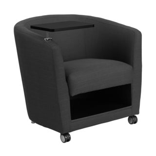 Offex Charcoal Grey Fabric Guest Chair with Tablet Arm/ Front Wheel Casters and Under Seat Storage