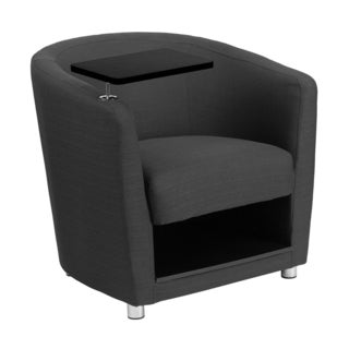 Offex Charcoal Grey Fabric Upholstery Guest Chair with Tablet Arm/ Chrome Legs and Under Seat Storage