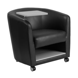 Offex Black Leather Adjustable Guest Chair with Tablet Arm/ Front Wheel Casters and Under Seat Storage