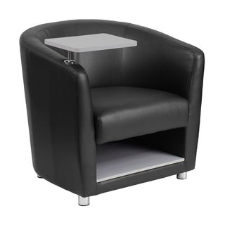 Offex Black Leather Upholstery Guest Chair with Tablet Arm/ Chrome Legs and Under Seat Storage