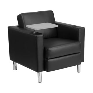 Offex Black Leather Adjustable Guest Chair with Tablet Arm/ Tall Chrome Legs and Cup Holder