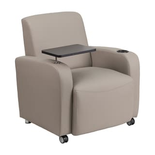 Offex Grey Leather Durable Guest Chair with Tablet Arm/ Front Wheel Casters and Cup Holder
