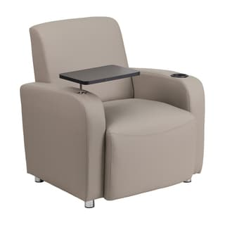 Offex Grey Leather Upholstery Guest Chair with Tablet Arm/ Chrome Legs and Cup Holder