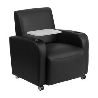Offex Black Leather Guest Chair with Tablet Arm/ Front Wheel Casters and Cup Holder