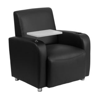 Offex Black Leather Upholstery Guest Chair with Tablet Arm/ Chrome Legs and Cup Holder