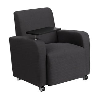 Offex Grey Fabric Contemporary Guest Chair with Tablet Arm and Front Wheel Casters