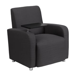 Offex Grey Fabric Upholstery Guest Chair with Tablet Arm and Chrome Legs