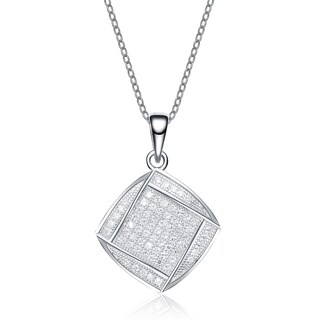 Collette Z Sterling Silver Pave Cubic Zirconia Pendant Necklace