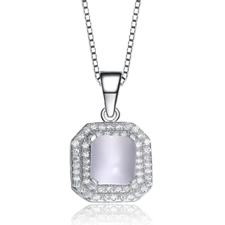 Collette Z Sterling Silver Frosty Cubic Zirconia Octagon Necklace