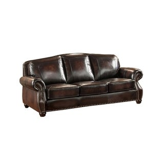 Vail Hand Rubbed Genuine Leather Sofa with Crocodile Embossing and Feather Down Seating