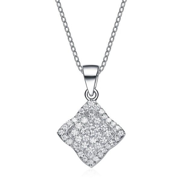 1a7d49a7ed500 Shop Collette Z Sterling Silver Cubic Zirconia Pave Diamond Shape ...