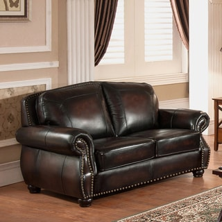 Vail Hand Rubbed Genuine Leather Loveseat with Crocodile Embossing and Feather Down Seating