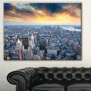 Designart 'Aerial View of NYC Skyscrapers' Cityscape Photo Canvas Print