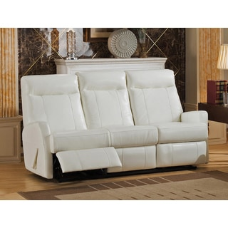 Toledo White Top Grain Leather Lay-Flat Reclining Sofa with Memory Foam Seating