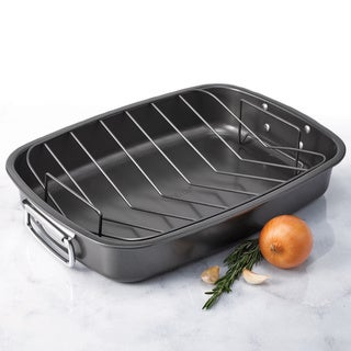 Oneida Carbon Steel Roaster with Non-stick V-rack and fold down handles