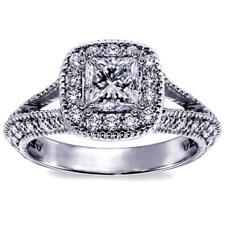 14k White Gold 1 3/4ct TDW Halo Princess-cut Diamond Engagement Ring