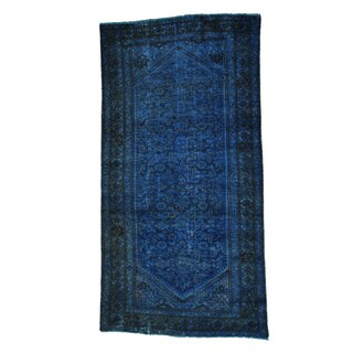 Persian Malayer Overdyed Wide Worn Down Runner Rug (5' x 9'7)