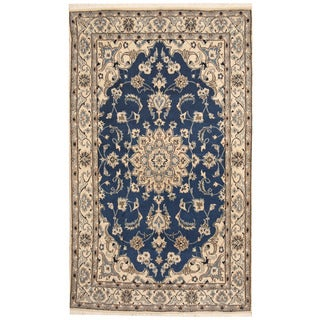 Herat Oriental Persian Hand-knotted Nain Wool and Silk Rug (4'1 x 6'9)