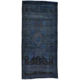 Overdyed Persian Mosel Wide Worn Down Oriental Runner Rug (4'3 x 9'1)