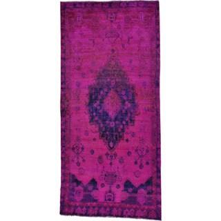 Overdyed Persian Hamadan Wide Handmade Oriental Runner Rug (4'5 x 9'8)