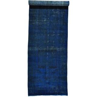 Overdyed Persian Hamadan Gallery Size Worn Down Rug (4'9 x 18'2)