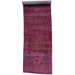 Overdyed Persian Hamadan Gallery Size Hand-knotted Rug (4'7 x 15'10)