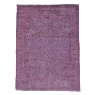 Agra Overdyed Purple Hand-knotted Pure Wool Oriental Rug (8'8 x 11'7)