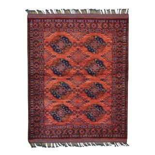 Afghan Ersari Elephant Feet Design Hand-knotted Oriental Rug (5' x 6')