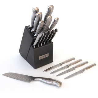 Oneida 17 Piece Stainless Steel Cutlery Block Set with 10 Bonus Steak Knives