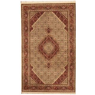 Herat Oriental Indo Hand-knotted Tabriz Ivory/ Red Wool & Silk Rug (4' x 6'8)