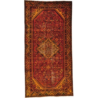 Semi Antique Persian Hamadan Wide Overdyed Runner Rug (4'10 x 9'7)