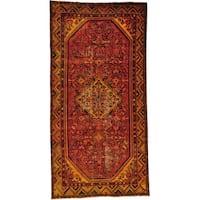 "Semi Antique Persian Hamadan Wide Overdyed Runner Rug - 4'10"" x 9'7"""