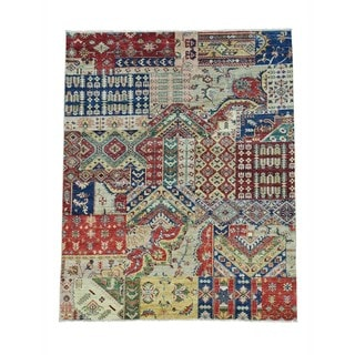 Hand-knotted Ghanzi Wool Afghan Patchwork Oriental Rug (5' x 6'2)