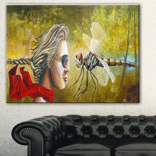 Designart 'Human and Dragon Fly' Abstract Digital Art Canvas Print