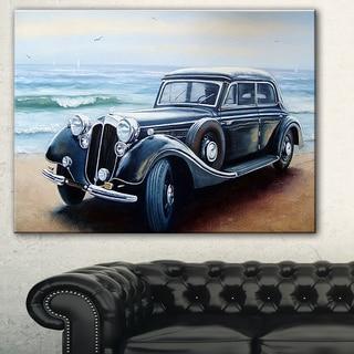 Designart 'Retro Car on Sea Shore' Car Painting Canvas Print